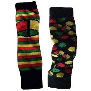 Reversible Boho Hippie Rasta Arm Warmer Leg Warmer